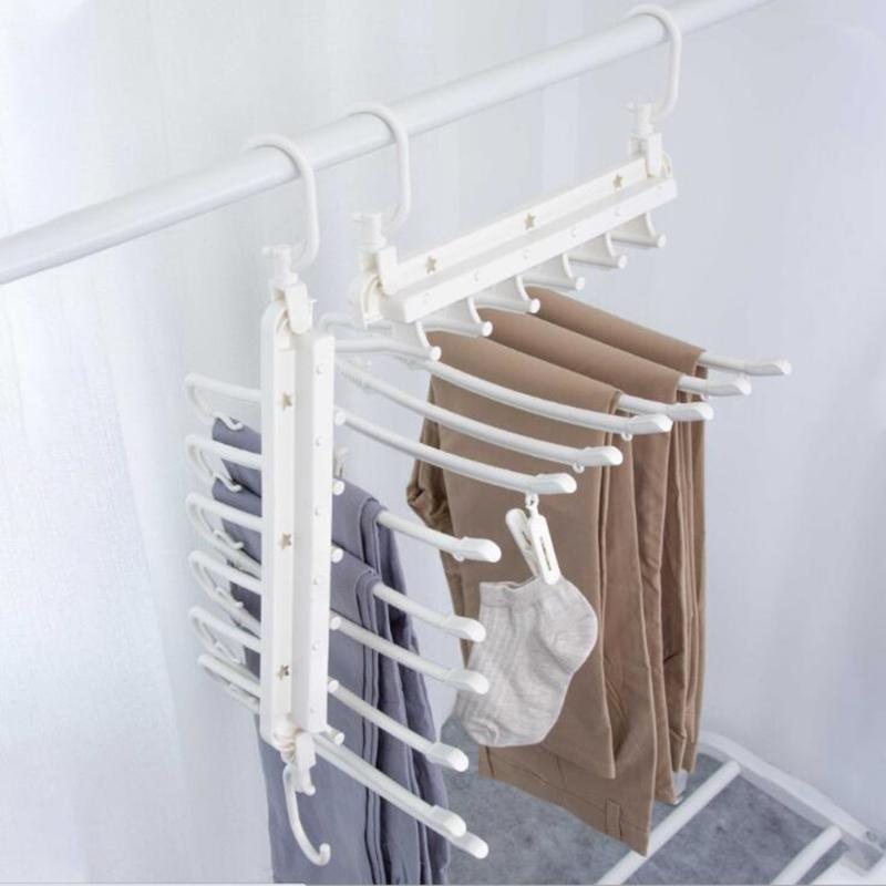 New Hangers Storage Tie Clips Multi-function 6 Layers Clothes Pants Rack Jeans Drying Rack Double Hooks Save Space
