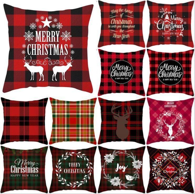 Taie d'oreiller de Noël Couvre-Rouge Noir Plaid décoratif Taie d'oreiller de Noël Place Canapé Coussin Oreiller de couverture de Noël pillowslip DHF746