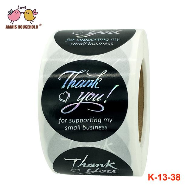 500pcs/Roll 1inch 1.5inch Thank You For Support My Small Business Silver Stamping Luxury Stickers For Business Products Gift Packaging