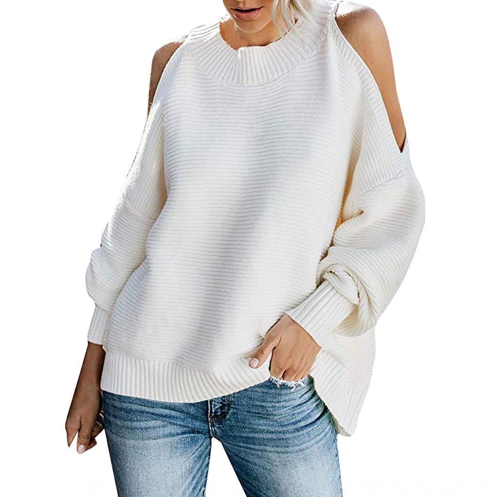 sX2tr Kadın moda düz renk yarasa moda sleeveshoulder Kadın katı uzunluğunda örme renk yarasa uzun sleeveshoulder gevşek kazak kn gevşek
