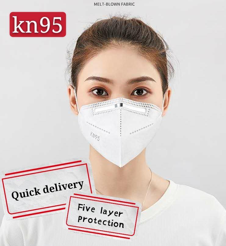 Çift erimiş halde iken üflenmiş kumaş KN95 dereceli koruyucu maske nokta 3D üç boyutlu katlanmış türü ile Kn95 tek maske beş katmanlar