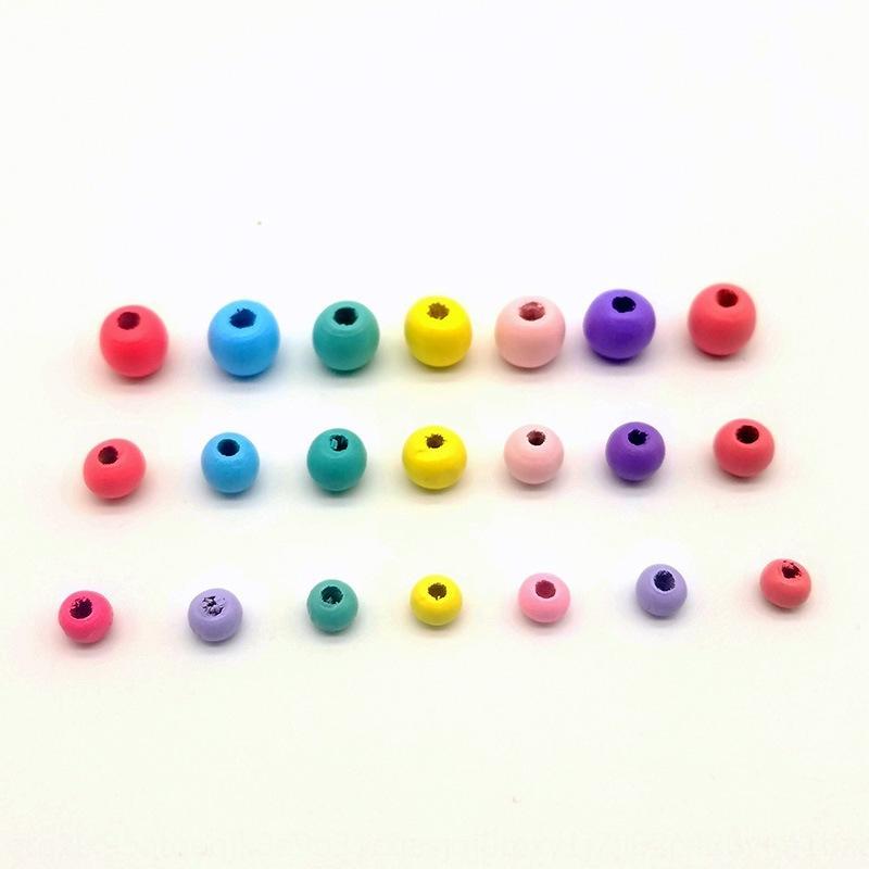 وزنها جين DIY الخرز الخشبي الملحقات 6MM 8MM 10MM اللون زينة DIY الحلوى الحلوى لون جديد الجزء الأكبر جولة الخرز