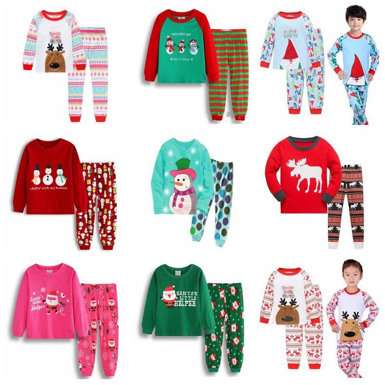 Conjuntos otoño invierno Santa Claus Ropa Niños Para Niñas Niños lindo bebé ropa de noche Trajes de Navidad Las niñas de dos piezas pijamas Set