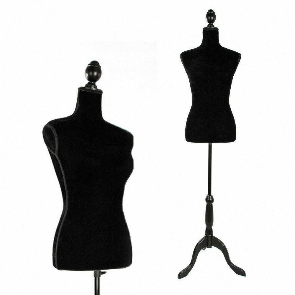 Mannequin femminile Torso vestiti del vestito di forma schermo nero Treppiede appendiabiti modello CIK9 #