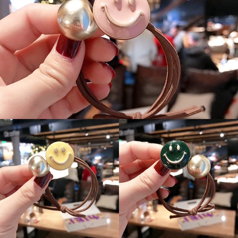 simples coréen tout match perles rondes visage souriant de bande en caoutchouc noeud couverture en cuir corde cheveux bande de caoutchouc frais tête corde accessoires pour cheveux FVc1N