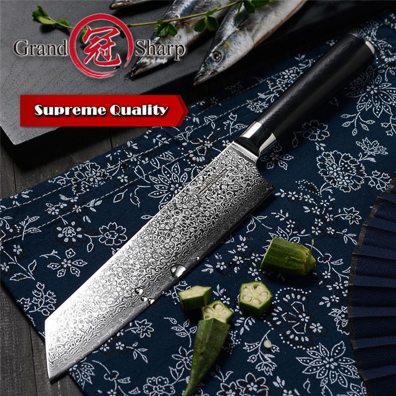 GRANDSHARP 8.2 Inch VG10 Damascus Steel Japanese Kitchen Knives G10 Handle Razor Sharp Japanese Damascus Blade Chef Knife with Gift Box