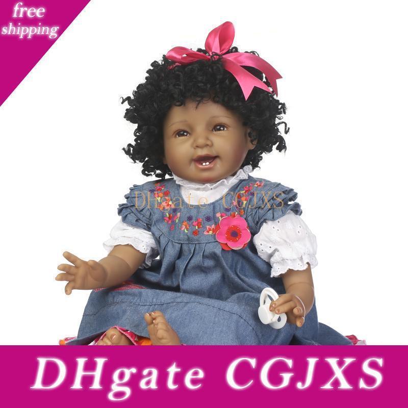Новых творческих 55см Силикагель Моделирование Черная кожа девушки куклы 22 дюймов Новорожденный принцессы малышей улыбка Baby Doll подарок на день рождения Игрушка P195