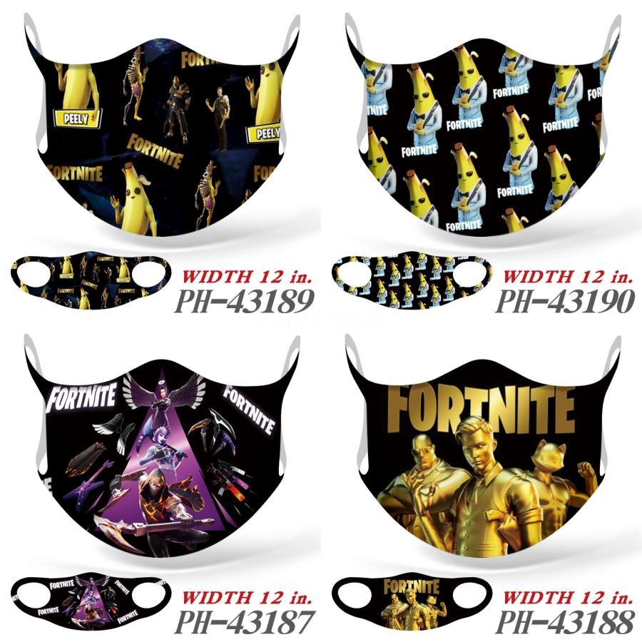 Doble Capa FaceFortnite MasksForal mariposa de la impresión a prueba de polvo de diseño Fortnite-UV Máscaras Fortnite Hombres Mujeres Boca-mufla Moda Washabl # 476