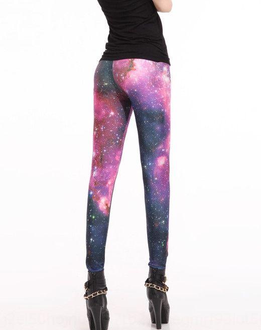 FXlYR Glossy digital printing Galaxy pants Digital tight pants rose red tight sexy leggings Lgs3010