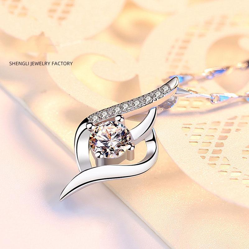 S999 Серебряное ожерелье Дамы Подвеска Короткие ключицы цепи Inlay Weiai Micro Inlay Подвеска Серебряные украшения подарков оптом