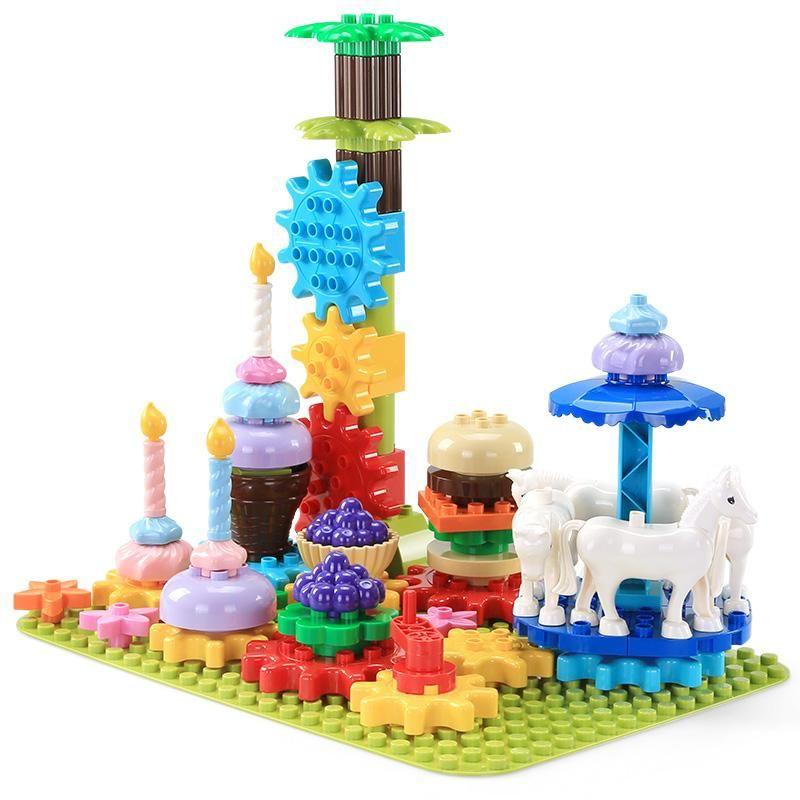 69pcs partículas maiores blocos de construção das crianças quebra-cabeça DIY brinquedo Meu Rotating Partido delicioso conjunto de alimentos para o presente crianças criativo inteligência 01