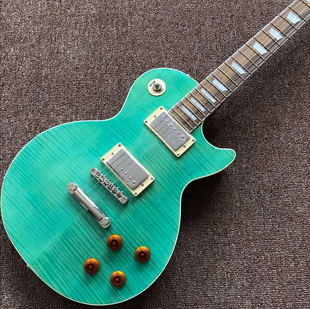 standard custom .green color electric guitar, Tiger Flame top guitarra,Rosewood fingerboard Standard gitaar..one piece neck and body