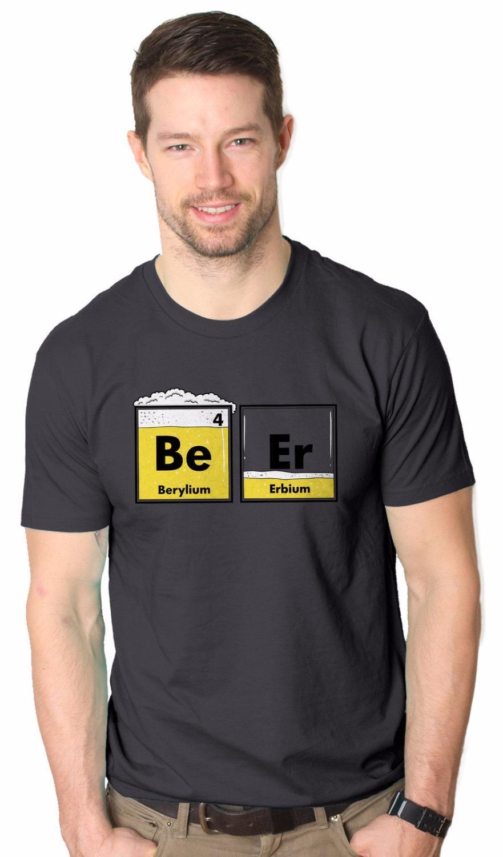 2019 New Kurzarm Herren Mode für Männer Herren Bier Nerdy Scientific Periodic Glas-T-Shirt Charcoal T-Shirt