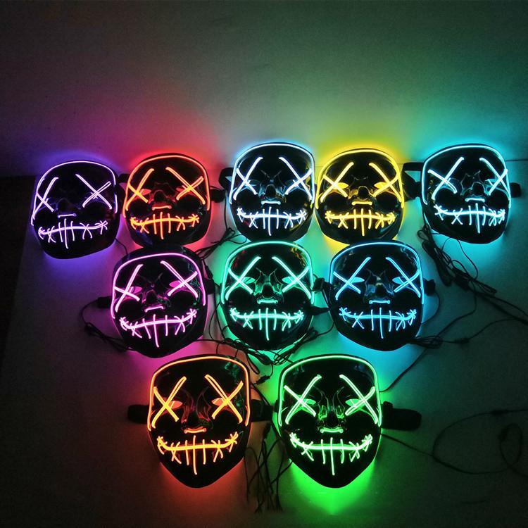 Raffreddare Purge luce fino costume di Halloween LED Cosplay Pay Day maschera per adulti Uomo Donna Ragazzi Ragazze