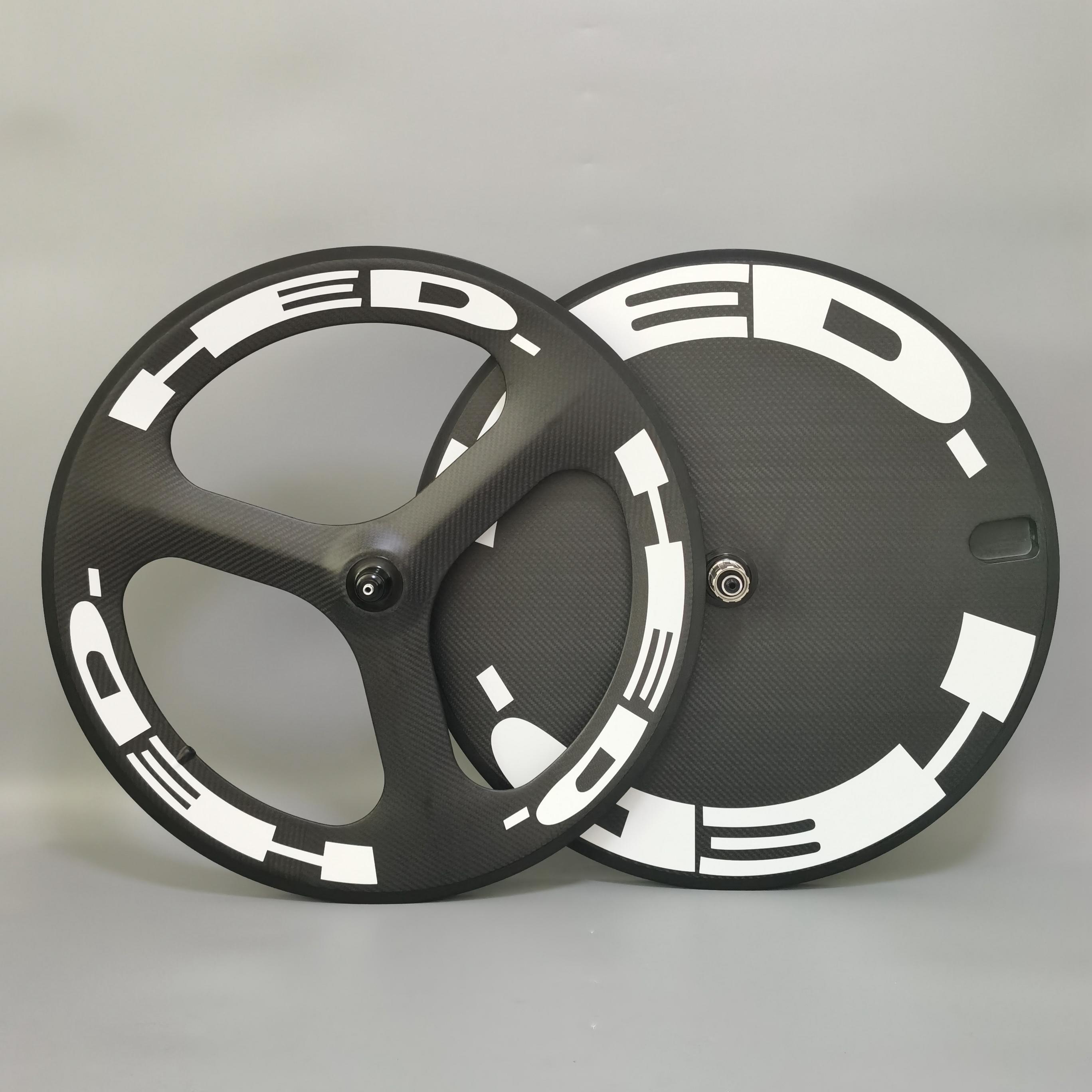 Hed 700c Karbon Tekerlekler Ön Tri-Kumandası Arka Disk Tekerlek Parça / Yol Bisiklet Tekerlek Kattığı / 3K Dimi Mat Bitirmek
