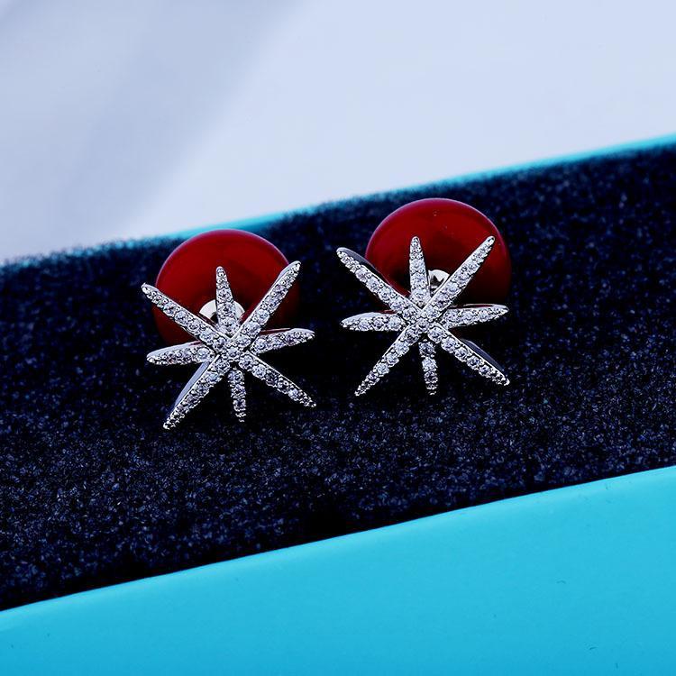 الأوروبية الجديدة الفاخرة الزركون الأقراط S925 إبرة الفضة والمجوهرات أحمر أبيض اللؤلؤ الراقية الأقراط العلامة التجارية ذات جودة عالية أقراط للنساء