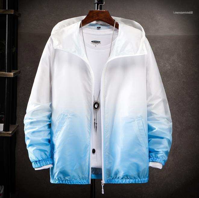 Diseñador de seda ocasional de moda de verano para hombre Gradiente de protección solar ropa Prevención ultravioleta respirable fino para hombre Prendas de hielo