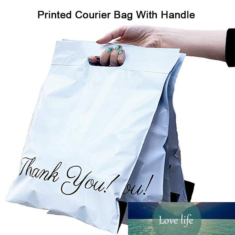 50pcs Printed Tote Bag Express Bag with handle Courier Self-Seal Adhesive Thick Waterproof Plastic Poly Envelope Mailing