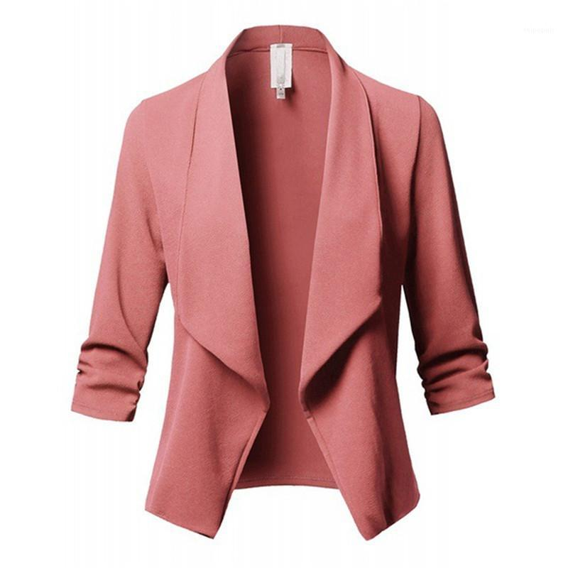 Pleated Women Suit Luxury Autumn Long Sleeves Formal Outerwear Fashion Printed Female Coat Designer Solid Color