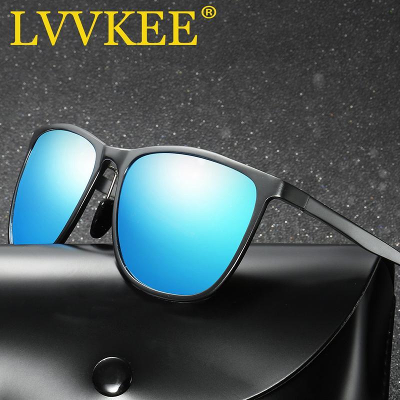 LVVKEE de magnesio y aluminio hombres de la marca de gafas de sol polarizadas espejo retrovisor Gafas de sol Gafas oculos masculino accesorios para hombres