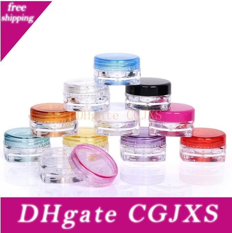 3g Crème Jars, maquillage clair en plastique Sous -Mise en bouteille, vide récipient cosmétique, petit masque échantillon Canister Avec vis Caps Lx1224