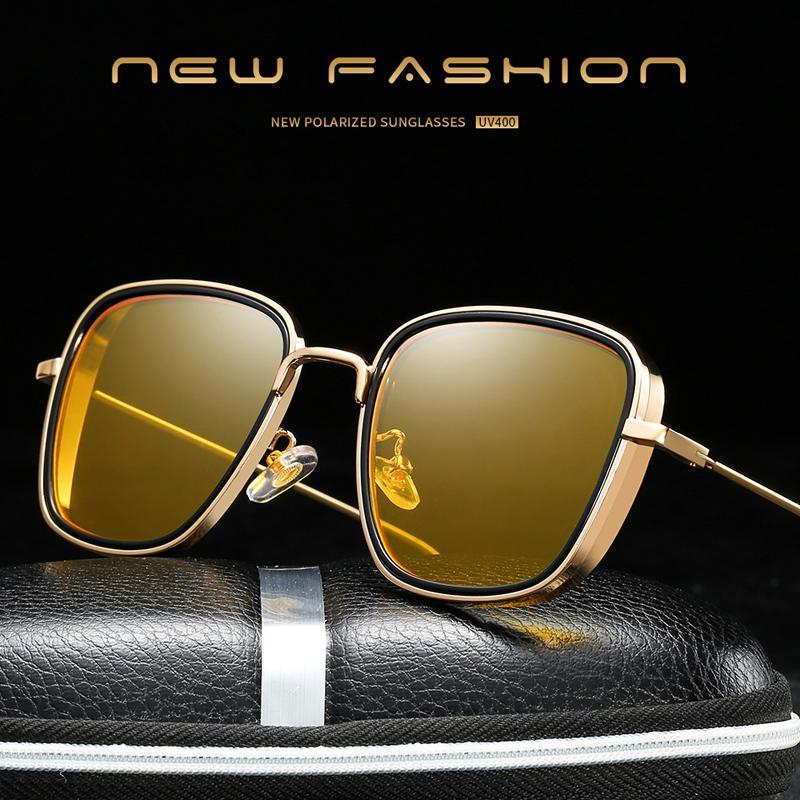 Iboode Мужчины Vintage металлические поляризованные очки Классический Марка ВС очки Покрытие объектива стимпанк Driver очки для мужчин / женщин