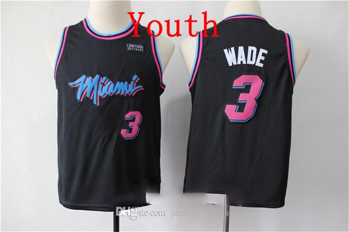 niñosMiamiHeat 3 DwyaneJóvenes jerseys del baloncesto Edition City Wade Jersey Vintage Negro Majestic 2020