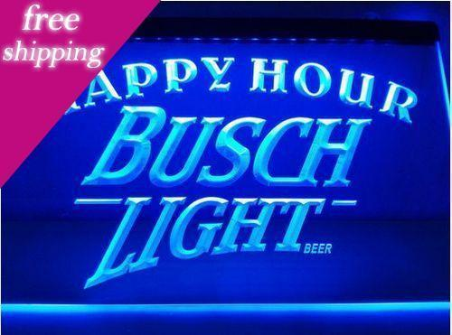 Busch Light 2 Size Happy Hour Bar Beer Pub Club 3d Signs Led Neon Sign