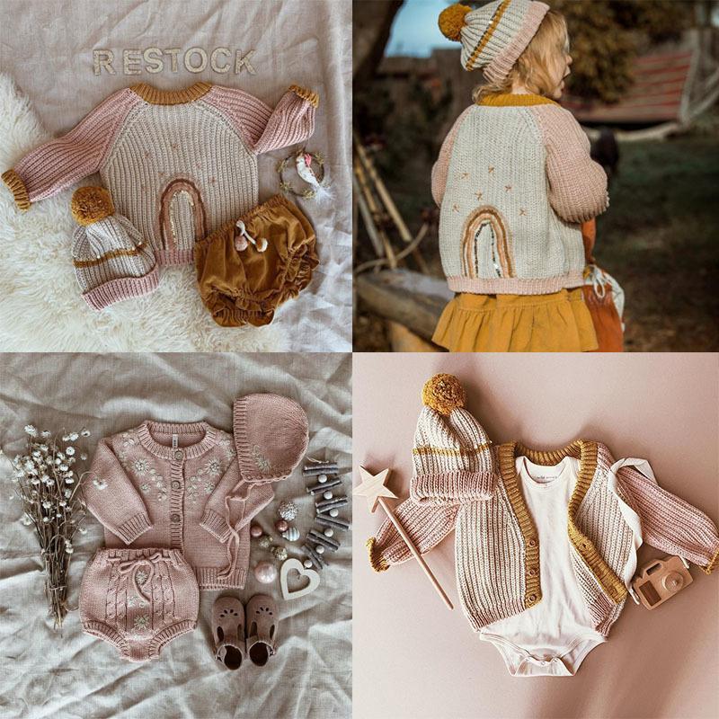 Escudo EnkeliBB bebé salvaje Wawa invierno Kniting y sombrero suéteres precioso modelo del arco iris caliente para niños niñas suéteres del bebé Marca clohes Y200831