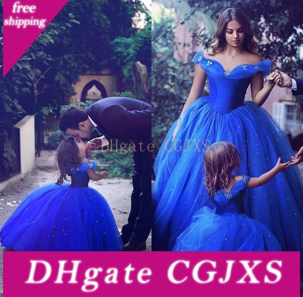 2017 Royal Blue Bebek Çiçek Kız Elbise İçin Düğünler Kısa Kollu Kız doğum günü partisi Elbise Balo Küçük Kızlar Yarışması Giyim