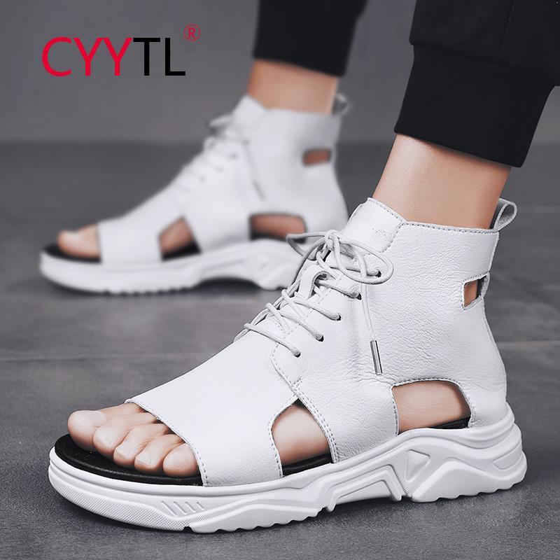 CYYTL 패션 하이 탑 남성 여름 샌들 레이스 업 오픈 발가락 신발 Highten 소프트 스니커즈 야외 산책 통기성 Meskie BUTY
