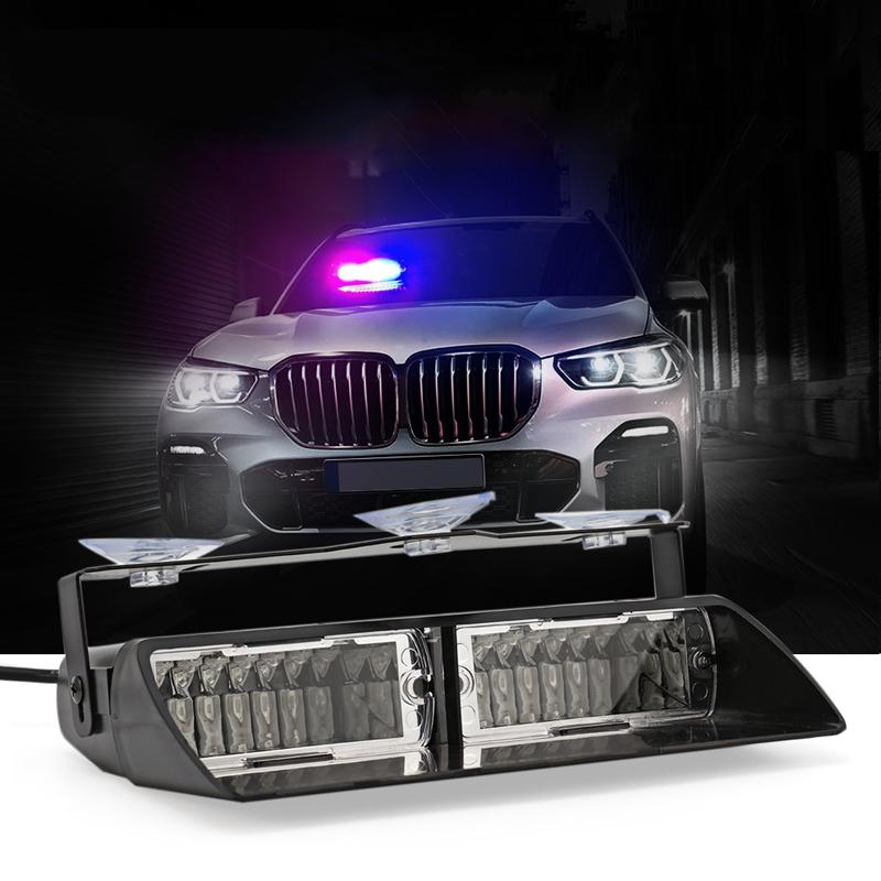 16 LED Car LED Strobe parabrezza Attenzione Red Light + Blu Giallo + Bianco Auto Flashing Emergency Strobe lampada Foggy Pioggia Neve