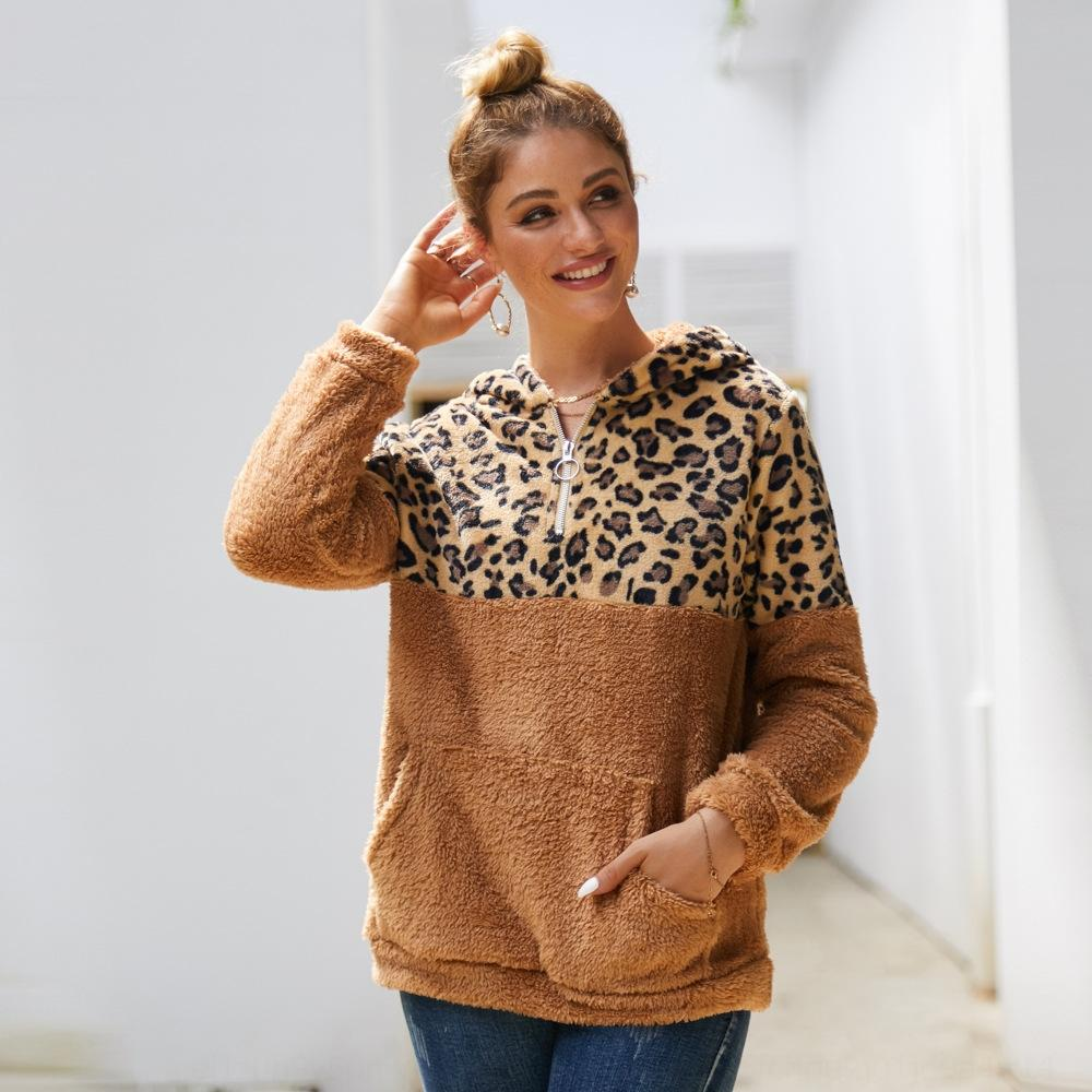 lYQCO lkv0e maglione lungo in alto leopardo impunture Maglia maniche 2020 Stampa invernale con cappuccio da donna velluto delle donne e in autunno