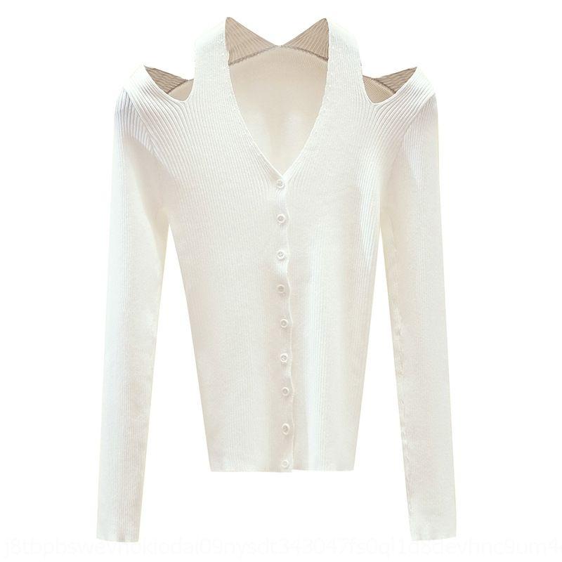 W43qx EI5jm Sehr Fee-Spitze Kragenfrauen Allgleiches V-neckshoulder sexy 2019 Huhn Pullover Pullover Herbst Kleidung oberste dünne Strickjacke fa