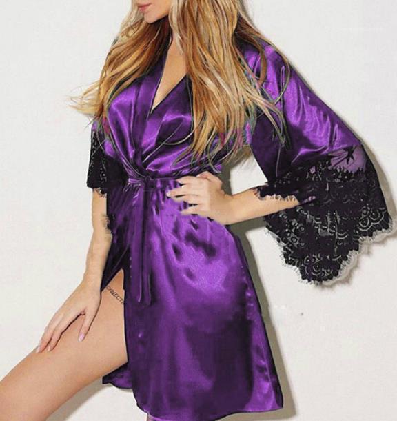 Женщины Чистый цвет сексуальное нижнее белье Модельер V шеи Женский Пижама с лентой Повседневная Сыпучие дамы Sexy Summer одежда