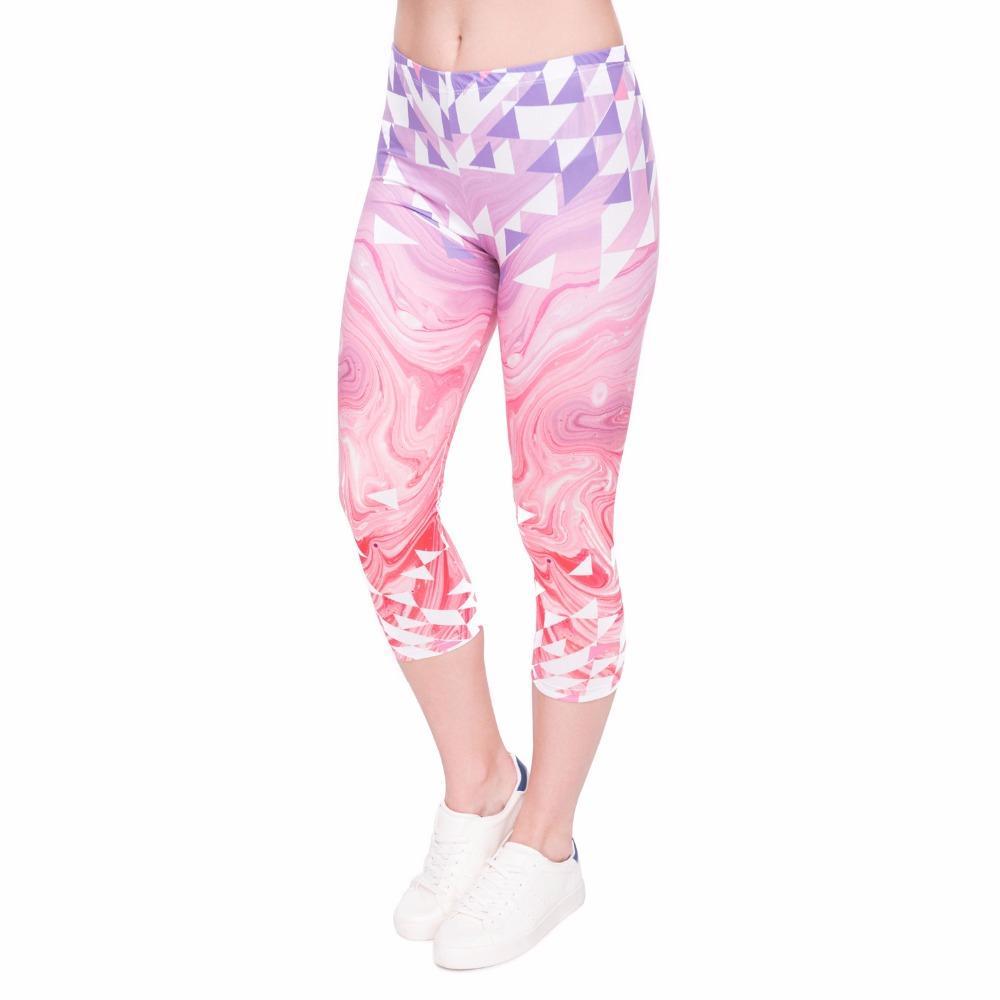 Mulheres Moda Verão Capri Leggings Triângulos Rosa Marble Impressão Sexy Mid-Calf 3/4 Calças Movimento Leggins Capri Pants Y200904