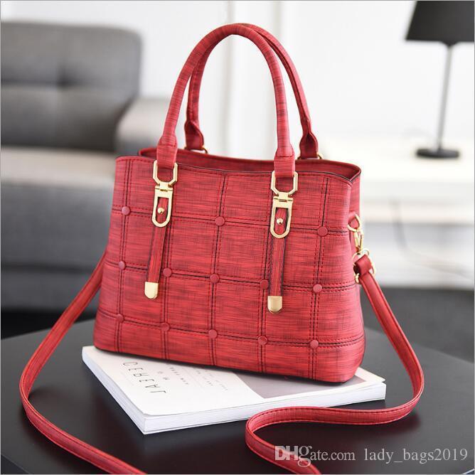 PU Leather Large Capacity Woman Handbag Grid Shoulder Bag Fashion Casual Luxury Designer Crossbody Bag Ladies Purse hand bags women 2020