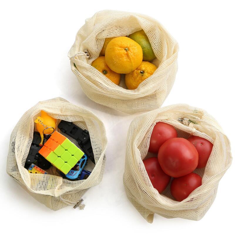 Vegetable Dozzesy reutilizável malha produzir sacos Organic mercado de algodão Fruit Shopping Bag Home Kitchen Grocery armazenamento saco com cordão Bolsa DWA910