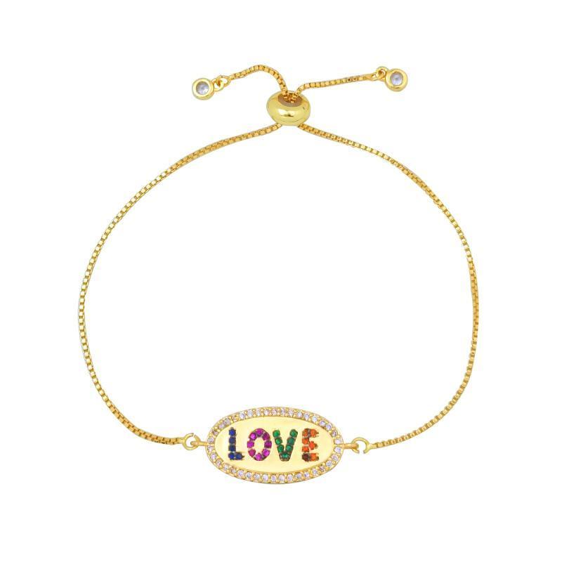 CZ Aşk Alfabe Ayarlanabilir Bilezik Kadınlar Takı Çok renkli Taşlı Güzel Aşk Mektubu Bilezik Zinciri pulsera ArcoIris