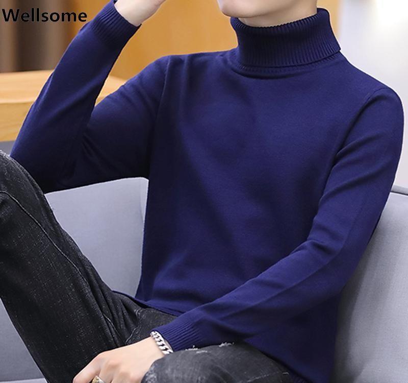 com pullover homens dom gratuito Casual homens de camisola de gola 2020 de Inverno Homens Camisolas Outono Slim Fit Malha Pullovers 7875