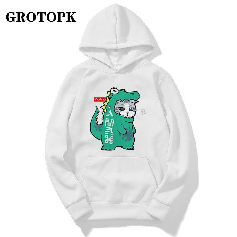 Gato Cosply Kawaii e cópias do cão Casal Roupa Hoodies unissex com capuz Outono Inverno com capuz Harajuku coreana Streetwear dos homens / mulheres