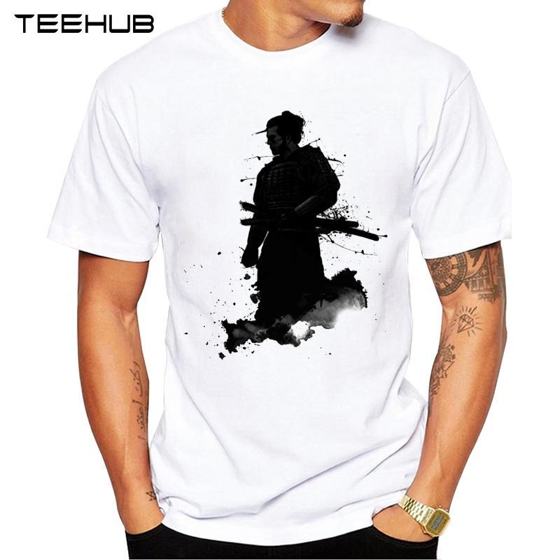2019 Fashion Samurai Printed T-shirt TEEHUB uomo manica corta della novità Anime design Cool Top Tee