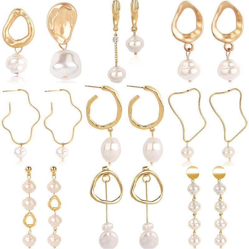 Joyería geométrica nuevo oro de la vendimia redonda irregular imitación de perlas pendientes para las mujeres perla cuelga los pendientes de gota de boda