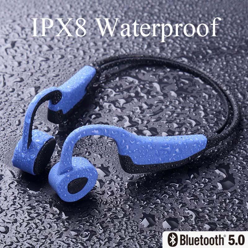 K7 Auricolari Bluetooth senza fili di auricolari IP68 MP3 impermeabile Nuoto Sport Auricolare conduzione ossea delle cuffie con microfono Run Diving
