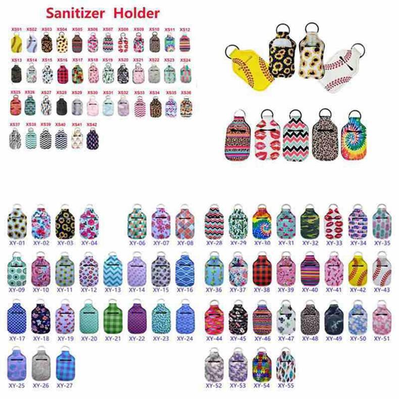 112 couleurs en néoprène Désinfectant pour les mains Porte-Chapstick Porte-coloré Chapstick Rouge à lèvres en néoprène porte-clés Mini bouteille Cover Party Favor100pcs