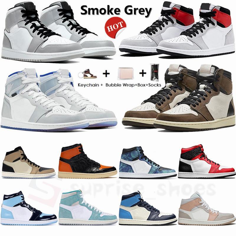 الجديدة 1 السامي منتصف ضوء دخان رمادي 1S منخفضة ترافيس سكوتس أحذية الرجال لكرة السلة Jumpman الفطر UNC شيكاغو سلال حجر السج حذاء رياضة حجم 13