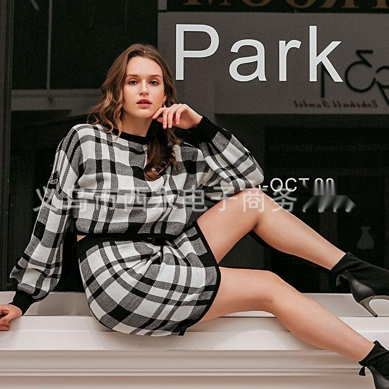 2FsNH skirt Short Sweater autumn and winter New Fashion short skirt set sexy plaid hip sweater 2020 QWI0w