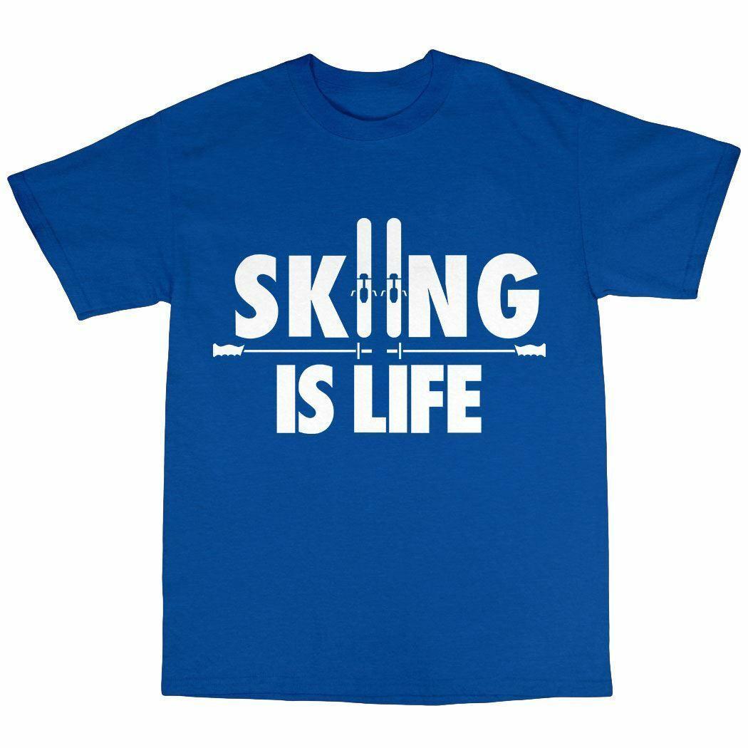 Skifahren ist Leben Skifahrer-T-Shirt Premium-Geschenk Ski Alpine Ski 100% Baumwolle Präsens Graphic Männer-T-Shirt Kleidung