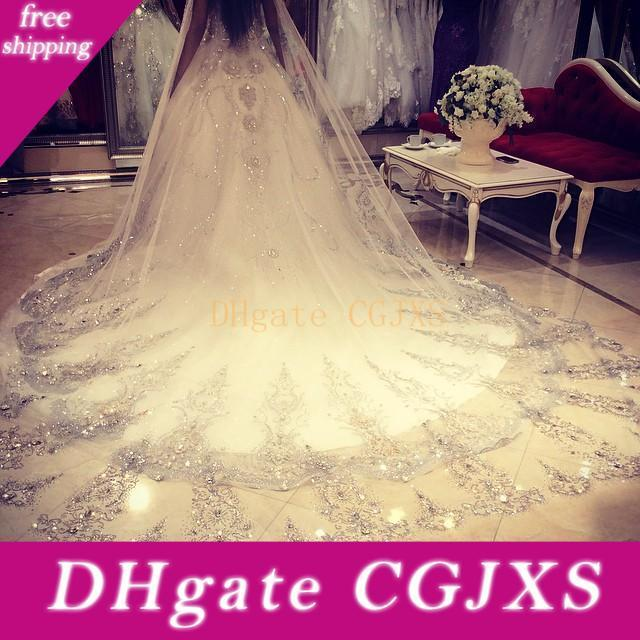 Bling Bling Crystal Cathedral Bridal Veils 2019 Luxury Long Applique Beaded Custom Made High Quality Wedding Veils