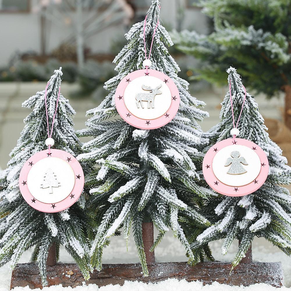 рождественские украшения розовых деревянные звезды Рождества круга в форме висят Рождественскую елку украшения оптовых цен на продажу оптом